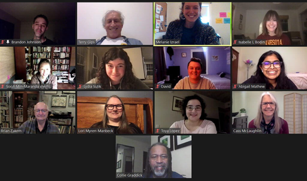 Our board members and interns in a zoom meeting.