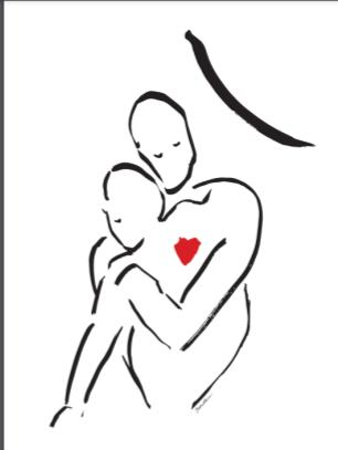 Black and white line painting of two figures in an embrace, with a small red heart overlapping the two figures.