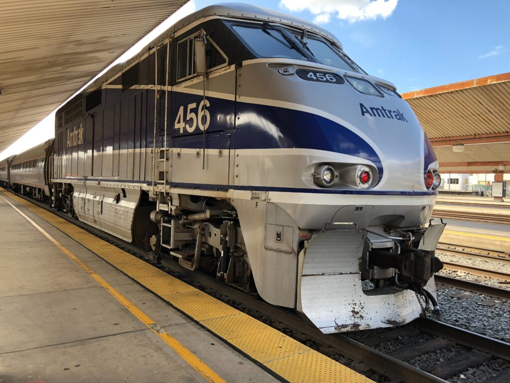 An Amtrak passenger train pulled into a station