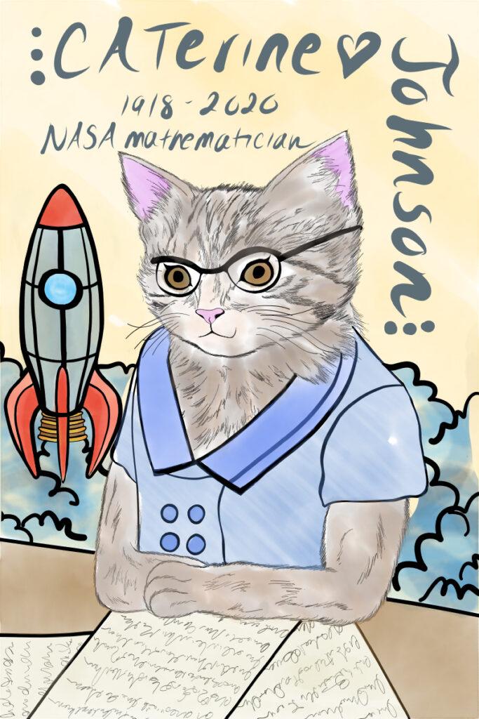 Mathematician Katherine Johnson drawn as a cat