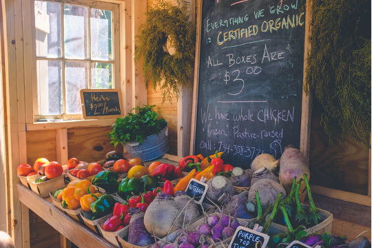 A vegetable stand advertising certified organic produce.