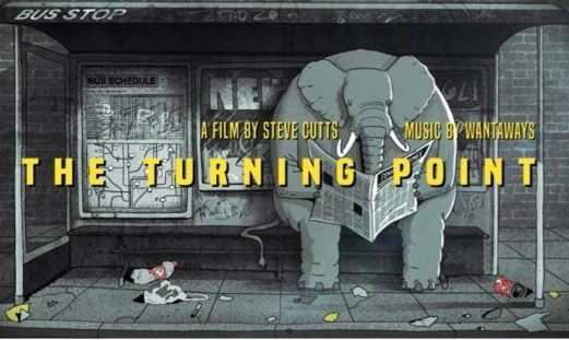 The title card for The Turning Point, with the text: A film by Steve Cutts, Music by Wantaways. It shows a grey scene with an elephant sitting on a bench at a bus stop reading the newspaper, surrounded by litter on the ground.