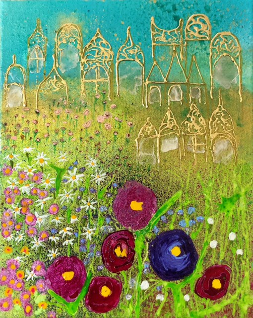 Painting of a green field with colorful flowers in the foreground, gold-painted buildings in the background, and a bright blue sky.
