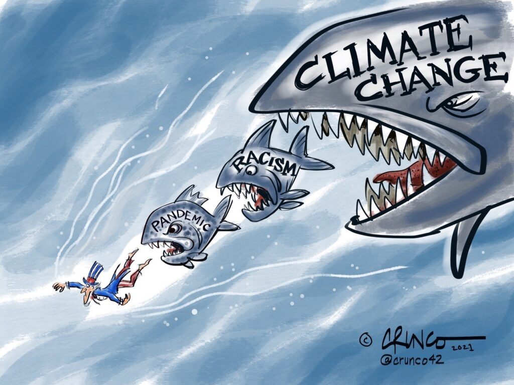 """A cartoon showing a shark labeled """"climate change"""" hunting a fish labeled """"racism"""", chasing a fish labeled """"pandemic"""", chasing Uncle Sam."""