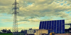 Powerlines and solar panels.