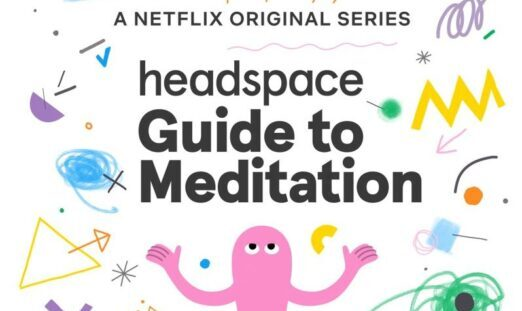 """The title card for """"headspace: Guide to Meditation, a Netflix Original Series."""" It shows an animated pink figure reaching it's hands upward, surrounded by colorful squiggles, lines, and shapes."""
