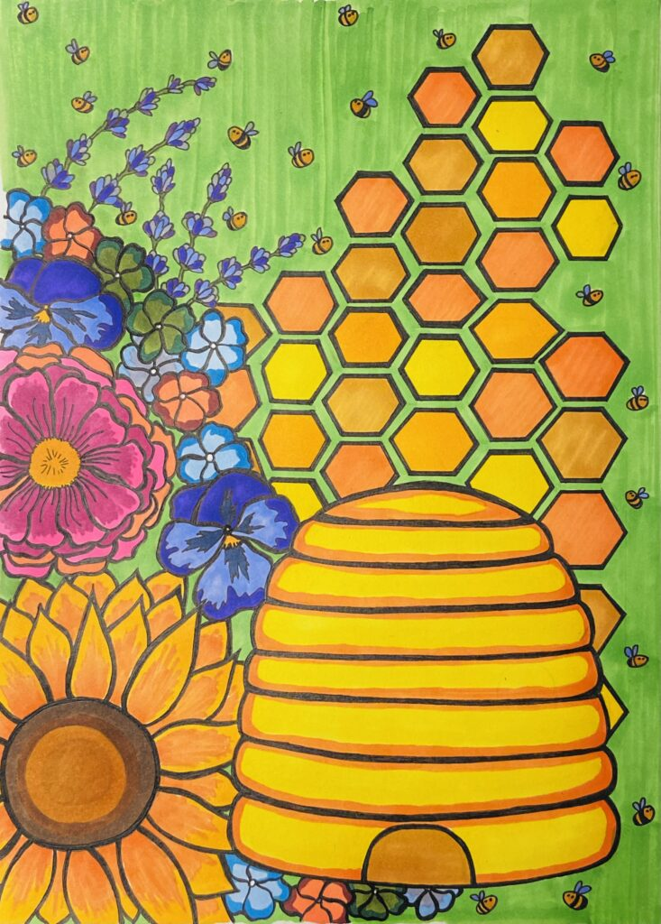 Drawing of a bee hive in front of a collection of colorful flowers, honeycomb, and honeybees.
