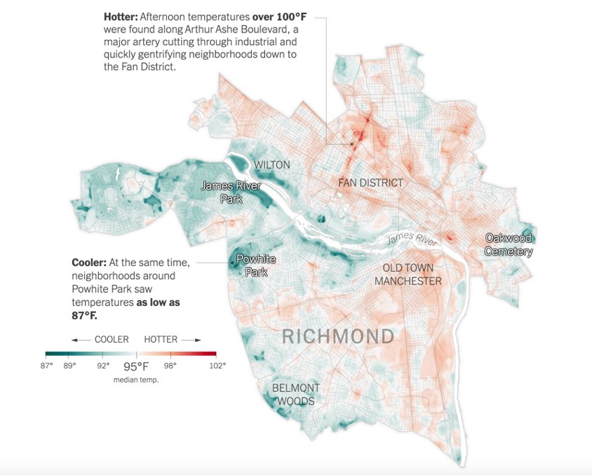 Map of the city of Richmond, Virginia. Red parts of the map depict hotter, more industrial and gentrifying areas of the city. Blue parts of the map depict cooler temperatures in more affluent areas.